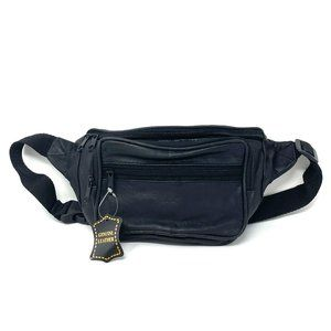 NEW Fanny Pack 100% Genuine Leather 3 Zip Black
